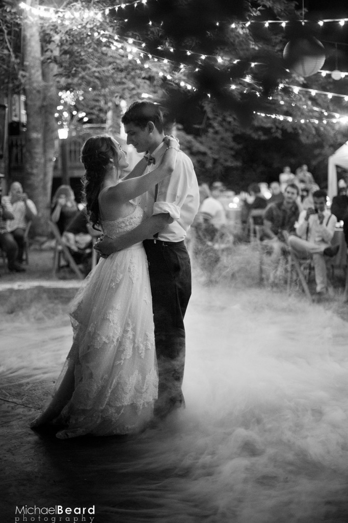 Michael Beard Joe and Crystal black and white dance in the fog