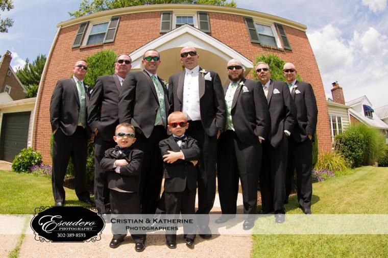 Escudero Christiana Hilton groomsmen in front of home