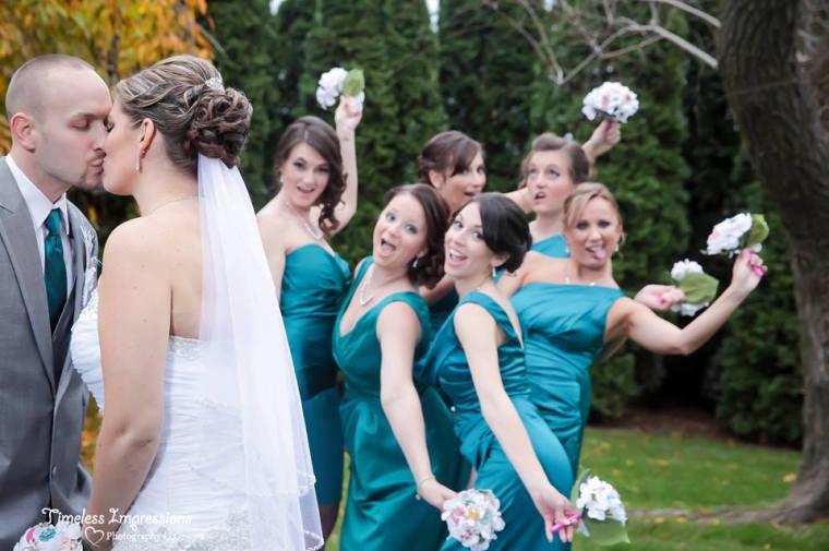 Farmhouse fairytale wedding kiss and bridesmaids