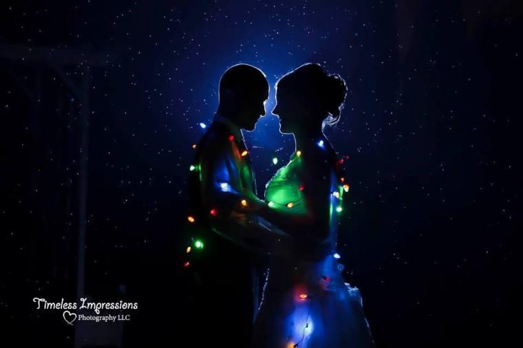 Farmhouse fairytale wedding lights and silhouette