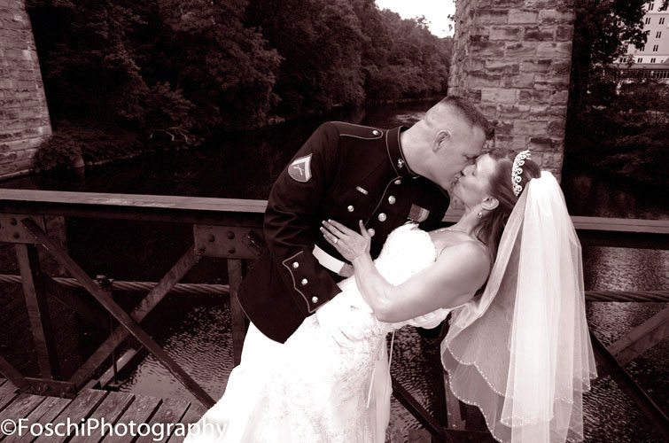 Foschi Marine and bride kiss
