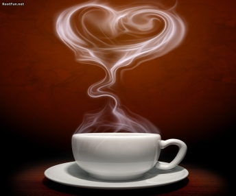 cup with heart steam