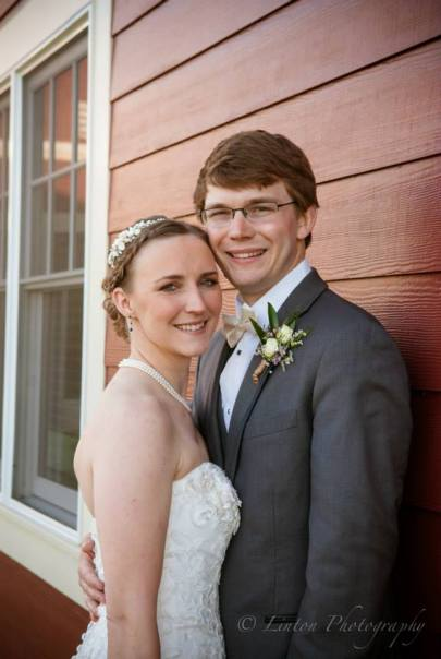 Linton red barn wedding bride groom