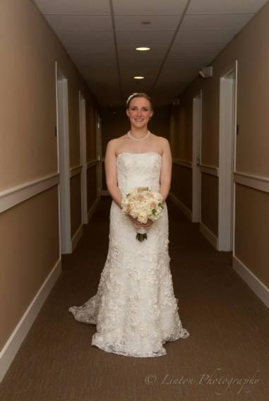 Linton red barn wedding bride in hall