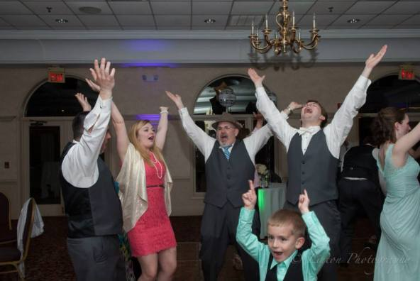 Linton red barn wedding reception fun