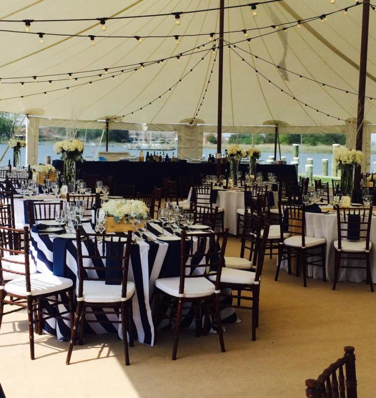 Dover and elevee nautical wedding reception in tent