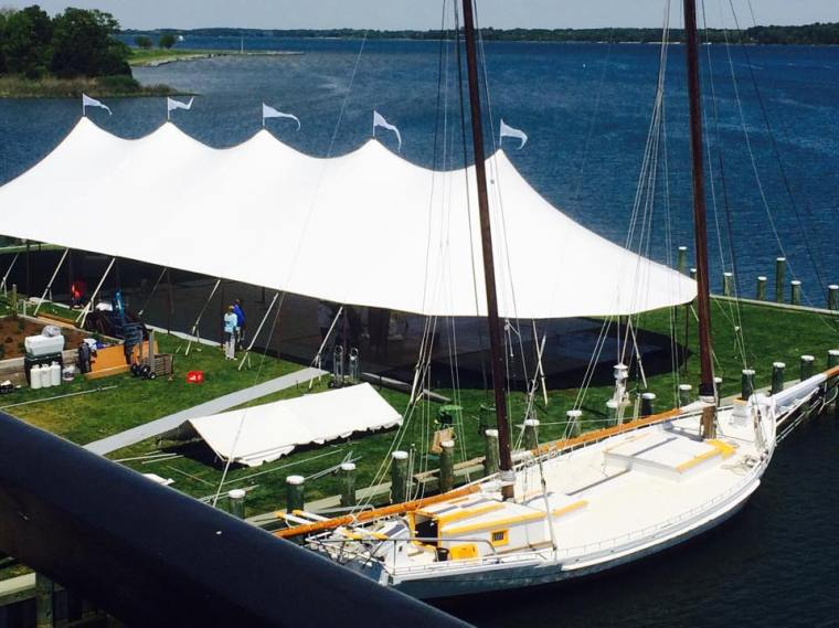 Dover and elevee nautical wedding tent above