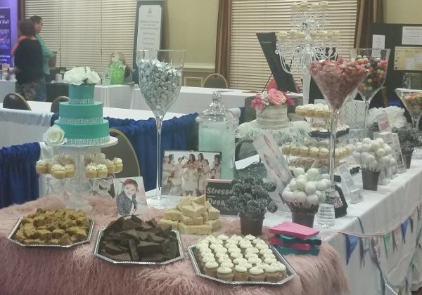 half baked cake and dessert bar table