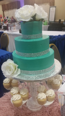 Half baked teal wedding cake