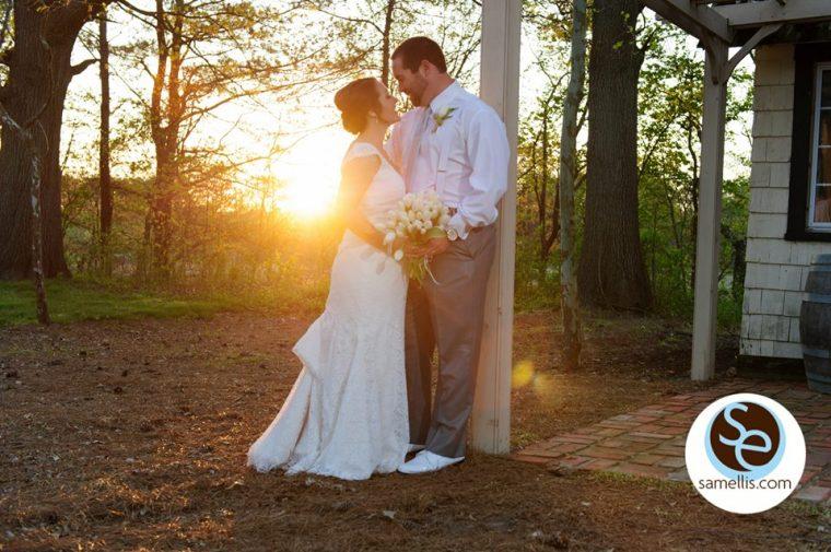 Nassau purple and white sam ellis bride and groom outside