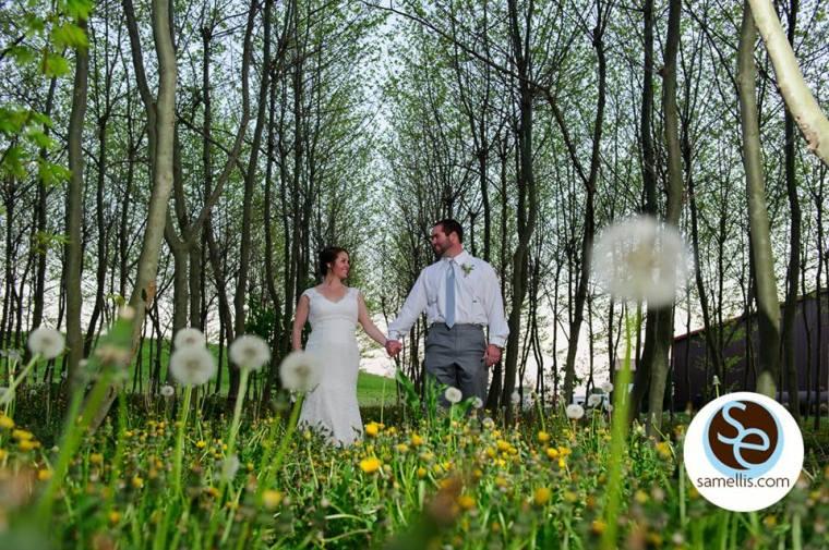 Nassau purple and white sam ellis bride groom field