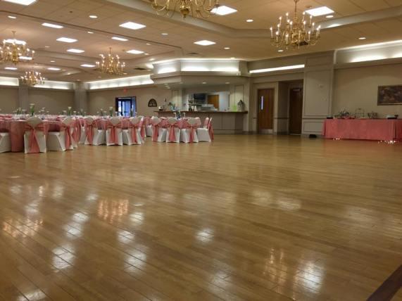 Five Points Memorial Hall pink white dance floor