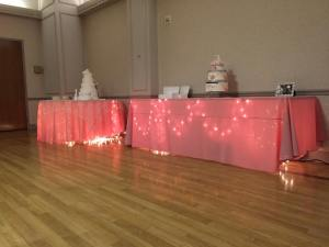 Five Points Memorial Hall pink white table lights