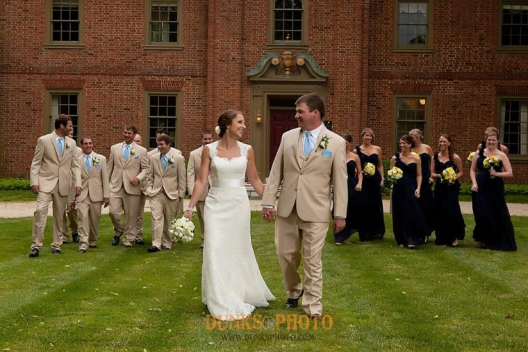 Great Oak Manor blue bride groom and party