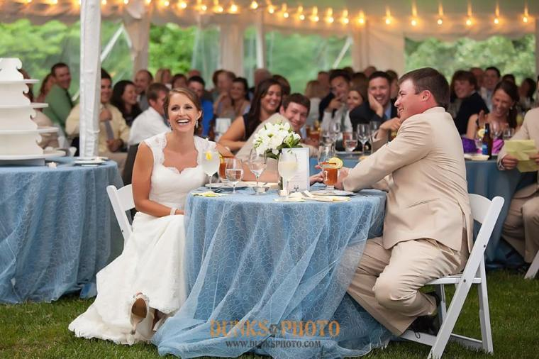 Great Oak Manor blue bride groom laugh table