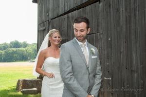 Linton Vineyard wedding couple at the barn first look