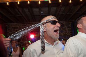 Linton Wedding reception tie on head