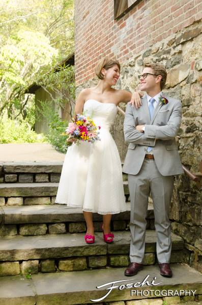 Foschi summer field wedding stone steps brick wall