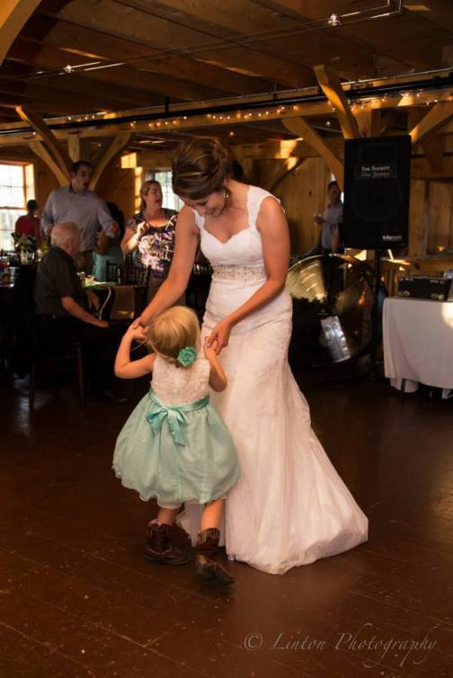 Linton Thousand Acre Wedding bride flower girl barn