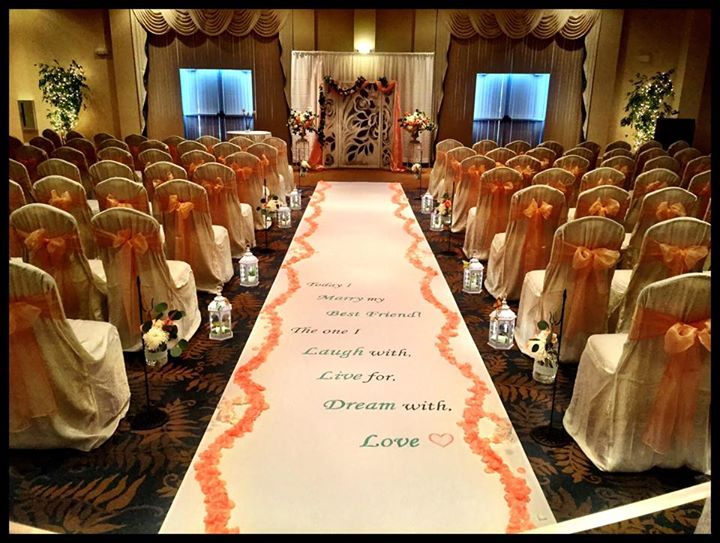 Executive wedding ceremony set up runner