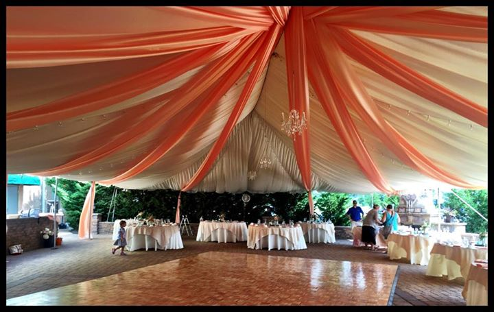 Executive wedding draped tent and dance floor & Magnificent Draped Patio Tent Wedding and Night Time Music and ...