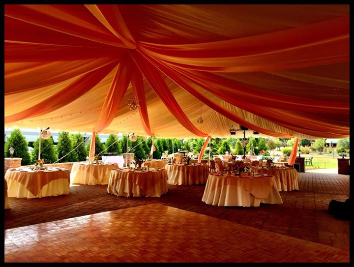 Executive wedding patio set up draped tent 2