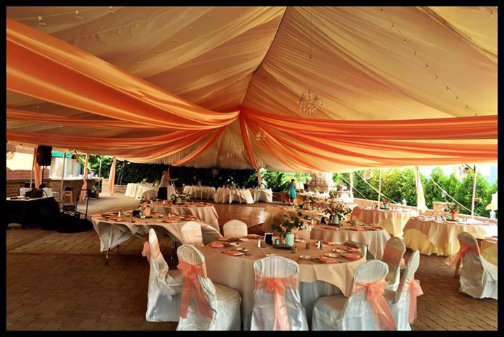Executive wedding patio set up draped tent
