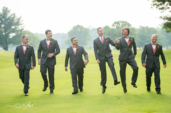 Maple Dale wedding the guys on golf green