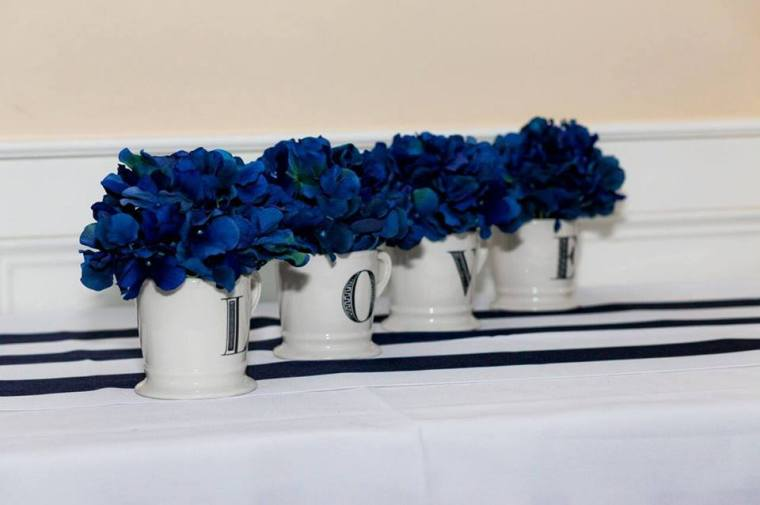 Irish Eyes Dover Rent Nautical Wedding Love Cups with blue hydrangeas