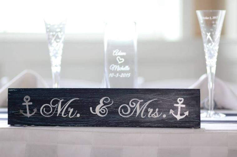 Irish Eyes Dover Rent Nautical Wedding Mr Mrs table sign glasses