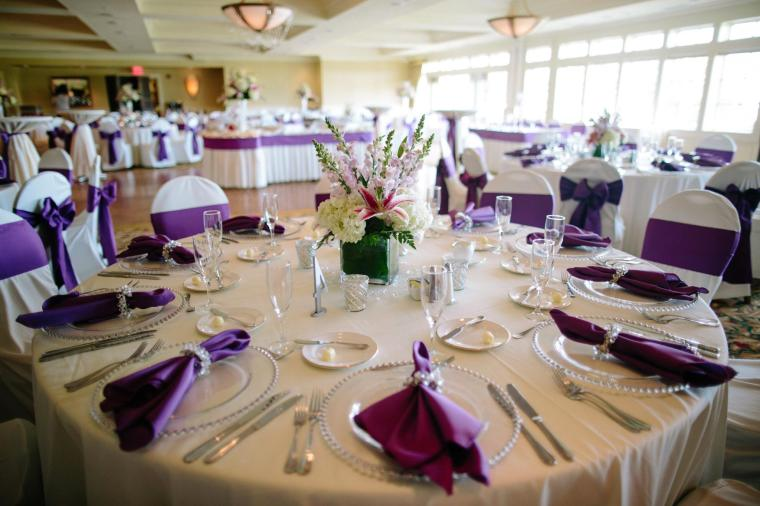 Baywood Greens Ballroom purple and white Tiffany Caldwell Photography