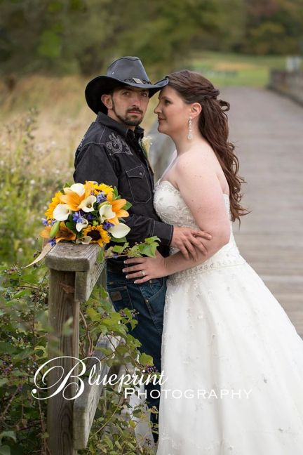 Blueprint cowboy wedding white clay creek bride groom field