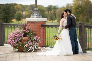 Blueprint cowboy wedding white clay creek kiss