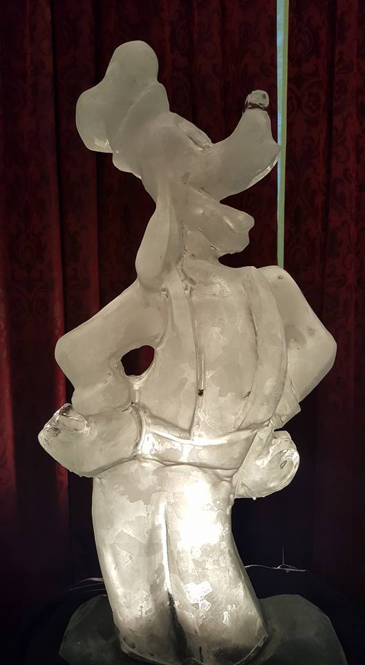 Waterfall Disney Wedding Goofy Ice Sculpture