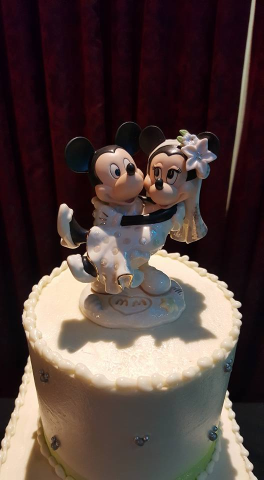 Waterfall Disney Wedding Mickey and Minnie cake