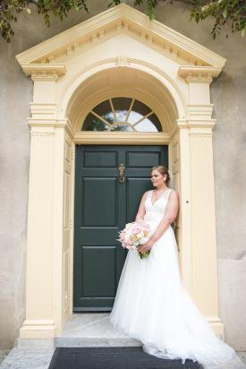 Hagley Fantail bride and blue door