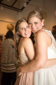 Hagley Fantail bride and maid hug