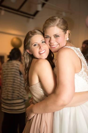 Hagley Fantail bride and maid hug