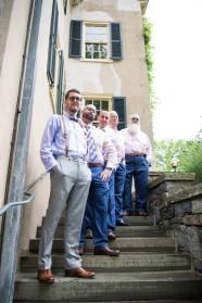 Hagley Fantail groomsmen stairs