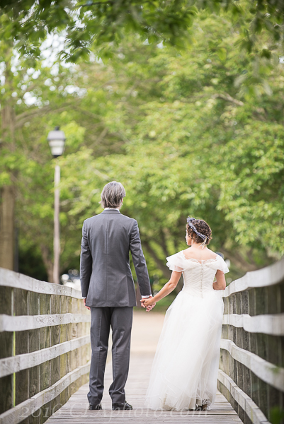 Creative Image LExy beach wedding bride groom bridge