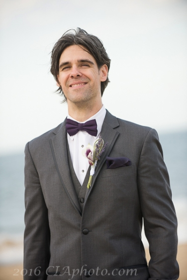 Creative IMage Lexy beach wedding groom seeing bride