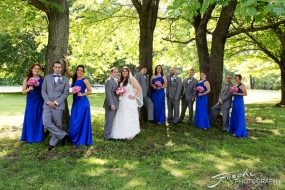 Foschi Orner Bridal party under trees