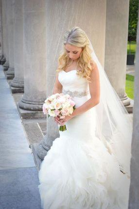 Kerry Harrison NEmours Waterfall wedding bride columns stairs