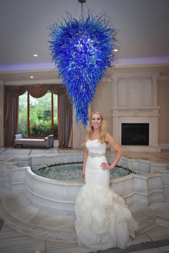 Kerry Harrison nemours waterfall wedding bride with blue chandelier
