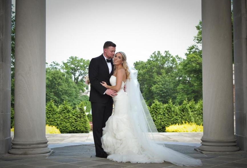 Kerry Harrison Nemours Waterfall wedding columns