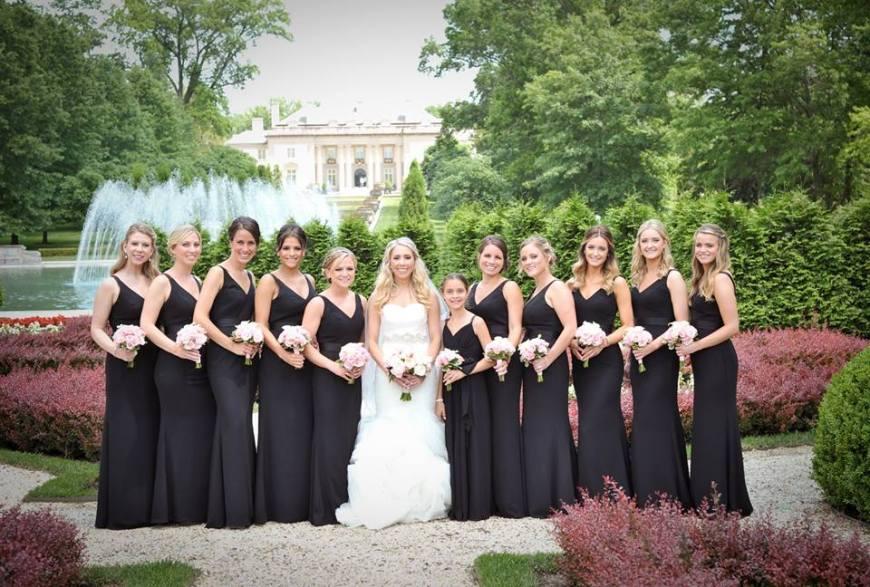Kerry Harrison Nemours Waterfall wedding garden bridal party black white