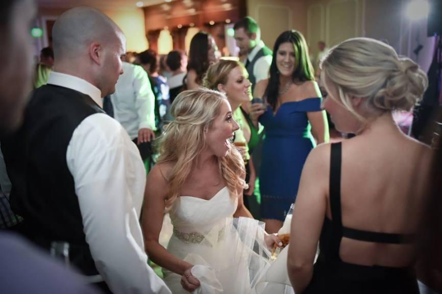 Kerry Harrison nemours waterfall wedding happy bride reception