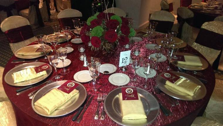 Rehoboth Beach Country Club maroon table setting