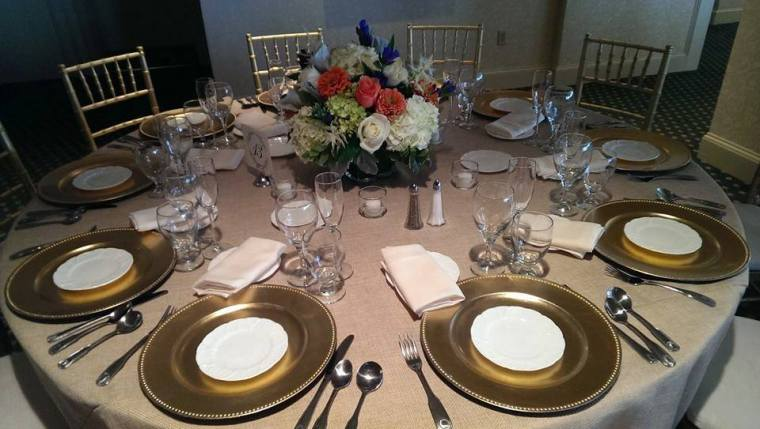 Rehoboth Beach Country Club table setting gold