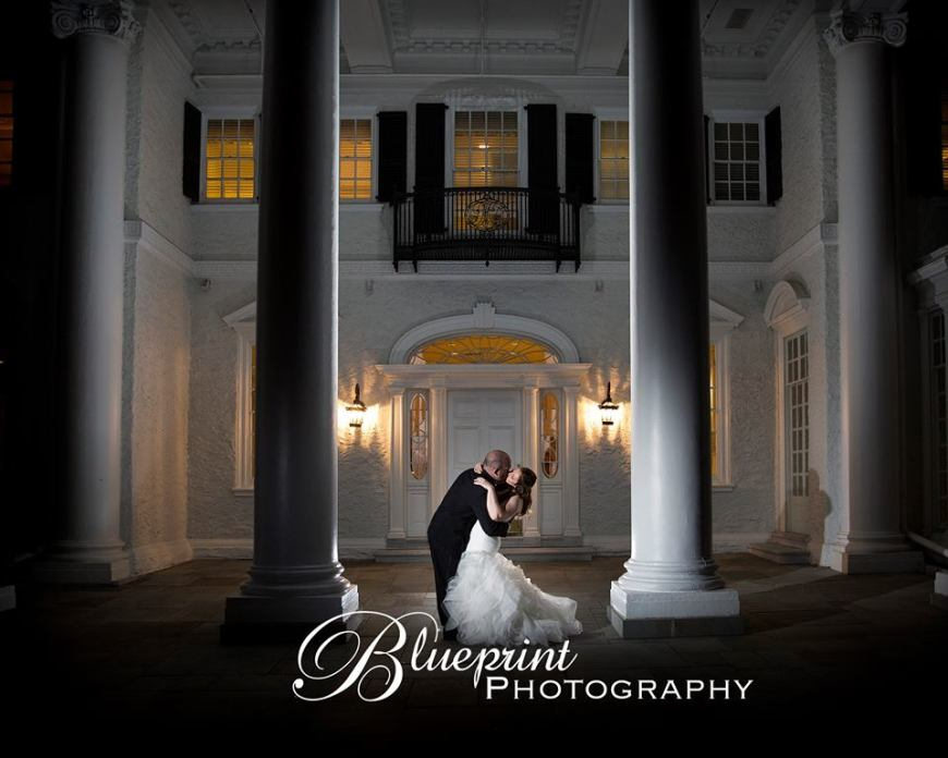 Blueprint Radner Valley columns bride and groom
